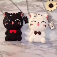 3D Cartoon Animals Joy Doll Cute Bow Big Face Cat Soft Silicone Back Shell Cover For Iphone 6 6s 6plus 6s Plus Phone Cases(China (Mainland))