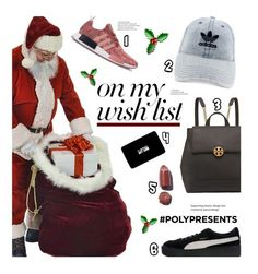 """#PolyPresents: Wish List"" by edenslove ❤ liked on Polyvore featuring adidas, Tory Burch, Puma, MAC Cosmetics, contestentry and polyPresents"