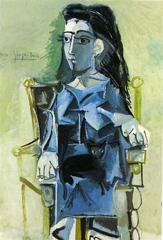 Jacqueline sitting with her cat - Pablo Picasso