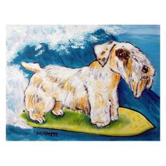 SEALYHAM TERRIER surfing picture DOG pet art print from orignal painting 8x10