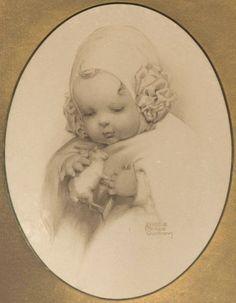"Bessie Pease Gutmann Original Print ""Feeling"" - 1909"