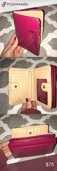 Kate Spade Cara Wallet Very gently used, beautiful Kate Spade wallet. Perfect size for smaller purses or not much cash but lots of cards. Holds lots of change. I got it brand new a year ago but I just need more space! Absolutely nothing wrong on the outside or the inside. kate spade Bags Wallets