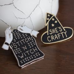 """Bundle+includes+one+each+of+the+""""She's+Crafty""""+and+the+""""Stitch+'n+Witch""""+pins.+"""