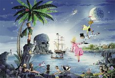 Jigsaw Crown And AndrewsNever Never Land-Classic Fairytales Collectio-Ron & Jean Henry-500pc Jigsaw