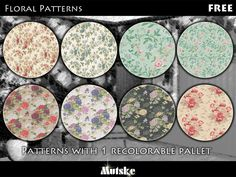 This is the second of 5 pattern sets. Each set has 8 patterns. I just wanted some nice floral patterns ingame. So here they are. Make sure that your game is fully patched and up to date for this...