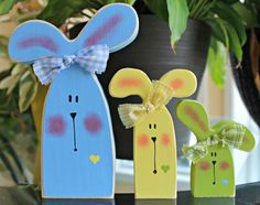 Colorful Wooden Blue Yellow and Green Bunny Trio by lauraswoodshed, $18.00