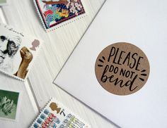 Please Do Not Bend Handle With Care Kraft Brown Stickers Post Letter Small Shipping Labels by Azmari