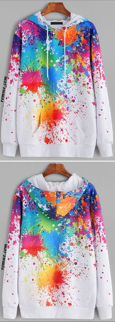 White Paint Splatter Print Drawstring Hooded Pocket Sweatshirt - Tap the link now to see all of our cool cat collections!