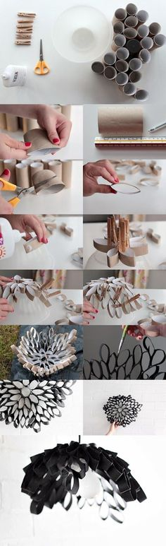A lampshade made from toilet roll holders - I am not sure if I have the patience but it is gorgeous! Toilet Paper Roll Art, Toilet Paper Roll Crafts, Diy Paper, Papier Diy, Creation Deco, Diy Art, Paper Flowers, Diy And Crafts, Craft Projects