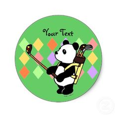 Panda Golfer Cartoon Sticker  designed by Naomi Ochiai  You can customize text. :)