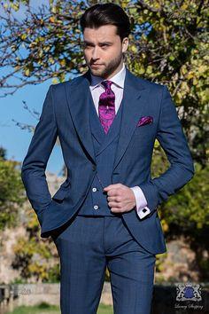 Schottenmuster blaue Herren Anzug