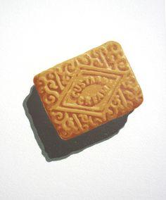 """Custard Cream"" linocut by Graham Spice. http://spicelinoprints.co.uk/ Tags: Linocut, Cut, Print, Linoleum, Lino, Carving, Block, Woodcut, Helen Elstone, Food, Biscuit."