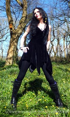 I love the dress but def. would be using other boots & accessories with it.Vio~  Nymphalinae Crossover Minidress by Moonmaiden Gothic Clothing UK