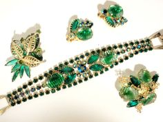 JULIANA GREEN GIVRE RIB ART GLASS RHINESTONE BRACELET EARRINGS & 2 BROOCH PINS!! #Juliana