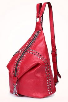 Rivet Leather Backpack - RED