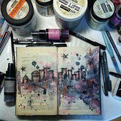 Kunstjournal Inspiration, Sketchbook Inspiration, Sketchbook Ideas, Art Journal Pages, Art Journals, Travel Journals, Journal Prompts, Visual Journals, Journal Ideas