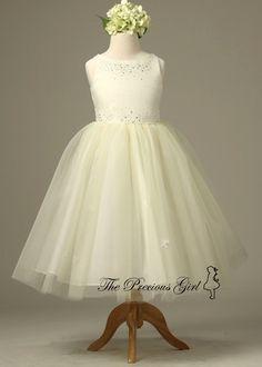 Ivory Lovely Tulle Skirt Flower Girl Dress