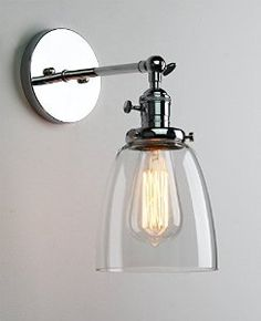 Permo Industrial Edison Antique Single Sconce With Oval Cone Clear Glass Shade Wall Sconce Wall Lamp (Chrome) Wall Lights, Sconces, Glass Shades, Lamp, Glass Bathroom, Sconces Wall Lamps, Diy Lamp, Wall Sconce Lighting, Light