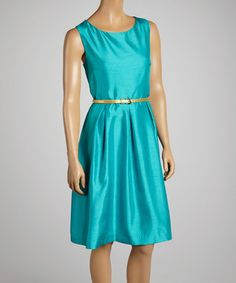 Another great find on #zulily! Emerald Belted Pleated Scoop Neck Dress by JM Studio #zulilyfinds