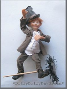 highly detailed chimney sweep man and boy with rope stick and a