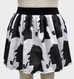 White & Black Detective Inspired Skirt by GoFollowRabbits on Etsy, $54.99 - I can make this with the material from spoonflower.com