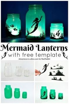 How to turn Mason Jars into magical Mermaid Mason Jars… DIY Mermaid Lantern Jars. How to turn Mason Jars into magical Mermaid Mason Jars. Pot Mason Diy, Mason Jar Crafts, Beach Mason Jars, Mermaid Room Decor, Mermaid Bedroom, Diy Mermaid Decorations, Diy Girl Room Decor, Ocean Bedroom, Bedroom Decor