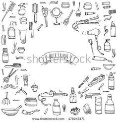 Hand drawn doodle Hair salon icons set. Vector illustration. Barber symbols collection. Cartoon hairdressing equipment elements: shampoo, mask, hair die, scissors, iron, curlers, dryer, razor.