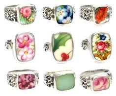 Broken China Jewelry Rings by www.brokenchinajewelryshop.com