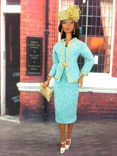 Doll Dress  Blue and Shimmering Gold Two-Piece by EnchantedStyles