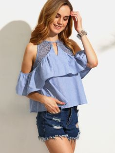 Blue Striped Ruffle Cutout Cold Shoulder Blouse -SheIn(Sheinside)