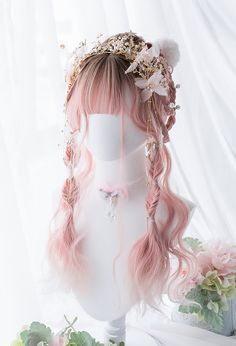 Buy Halloween Harajuku cosplay wig for your cosplay event. Deluxe Halloween Harajuku cosplay wig inner net of contains elastic pull buckle, which is convenient to adjust the size according to the head circumference. Halloween cosplay wig for sale now and Kawaii Hairstyles, Pretty Hairstyles, Wig Hairstyles, Fantasy Hairstyles, Pelo Lolita, Lolita Hair, Anime Wigs, Anime Hair, Cosplay Hair
