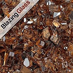 Blazing Fireglass 10-Pound Reflective Fire Glass with Fireplace Glass and Fire Pit Glass, 1/4-Inch, Copper