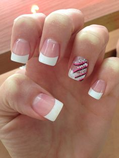Acrylic nails with Black, hot pink  Silver design