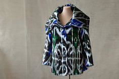silk ikat jacket, oversized cowl collar, portrait collar, silk car coat, blue black and white, made to order