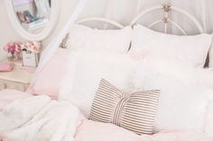 Pretty Essentials For A Lovely Bedroom - Jadore Lexie Couture White Faux Fur Throw, Faux Fur Rug, White Ornate Mirror, Euro Pillows, Teenage Room, Down Comforter, Feather Pillows, Roomspiration, Teenager