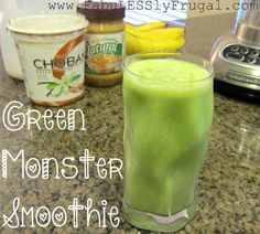 Freezer Meal Recipes: Green Monster Smoothie  1 frozen sliced banana 1 TL almond butter 1/2 cup Vanilla Greek yogurt 1 cup milk 4 cups baby spinach