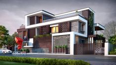 View the full picture gallery of Exterior Design Rendering- Modern Bungalow Exterior Wall Design, House Paint Exterior, Exterior House Colors, House Columns, Facade House, Bungalows, Style At Home, Modern Bungalow Exterior, House Front Design