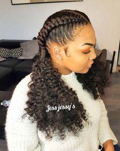 23 Stylish Ways to Wear 2 Feed in Braids - Hania Style 2 Cornrow Braids, Feed In Braids Hairstyles, Braids Hairstyles Pictures, Loose Hairstyles, Hair Pictures, Pretty Hairstyles, Braided Hairstyles, Feed In Braids Ponytail, Braids With Curls