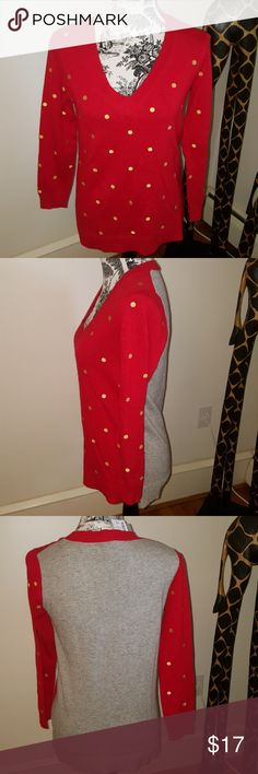 J Crew Red/Gold polka dot and gray sweater. J Crew red/tan polka dot sweater with a gray back. Sweater is super soft and is made of part Merino Wool. Brand new with tags. J. Crew Sweaters V-Necks