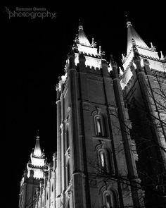 Salt Lake City Temple Photograph - Black and White Abstract LDS Mormon - 8x10 Fine Art Photo Print - Salt Lake Temple at Night