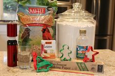 Just a few ingredients are needed to make birdseed ornaments.
