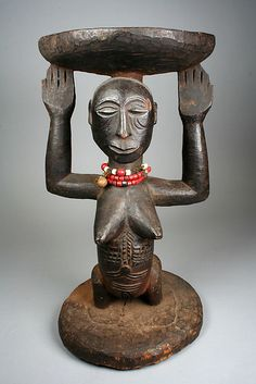 Prestige Stool: Female Caryatid | 19th–20th century | Democratic Republic of the Congo, Luba or Hemba peoples | Wood, beads