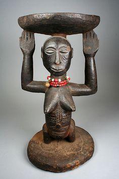 Africa | Prestige Stool: Female Caryatid | 19th–20th century | Democratic Republic of the Congo, Luba or Hemba peoples | Wood, beads