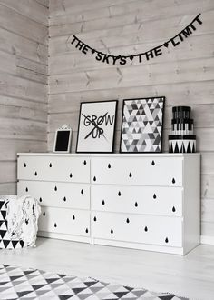 Malm dresser by IKEA is a brilliant piece, it's simple yet genius. Lets see how to spruce it up and use for your home's decor. Kids Bedroom, Bedroom Decor, Bedroom Ideas, Baby Bedroom, Decor Room, Bedroom Lighting, Bedroom Wall, Nursery Decor, Ikea Malm Dresser
