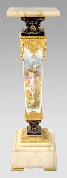 SEVRES STYLE Porcelain bronze onyx pedestal having a square top over a Luxury Furniture, Antique Furniture, Furniture Design, Louis Xvi, Pedestal, Antique Interior, Old World Style, Porcelain Jewelry, Cold Porcelain