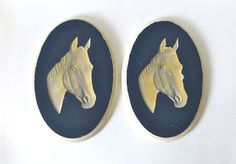Equestrian Chalkware Pair of Horse Head Wall by CloudyFloral, $35.00