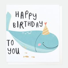 Party Time with our new Children's range, featuring fun characters adorned with foil finishes. This card has been printed on board using a low chlorine pulp from sustainable forests and can be recycled. Happy Birthday Blue, Whale Birthday, Happy Birthday Gifts, Happy Birthday Greetings, Birthday Congratulations, Birthday Gift Cards, Happy Children's Day, Birthday Images, Kids Cards