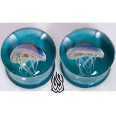 OMG AWESOME JELLYS! Pair of Glass Double Flared Amber Purple Jellyfish Plugs: 0g Dark Aqua: Glasswear Studios