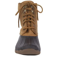Sperry Women's Shearwater Duck Boots - Brown/Tan ($140) ❤ liked on Polyvore featuring shoes, boots, ankle boots, tan leather boots, brown boots, tan ankle boots and duck boots