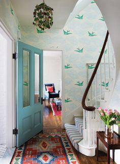 Wallpaper by Julia Rothman. Upstairs master bath